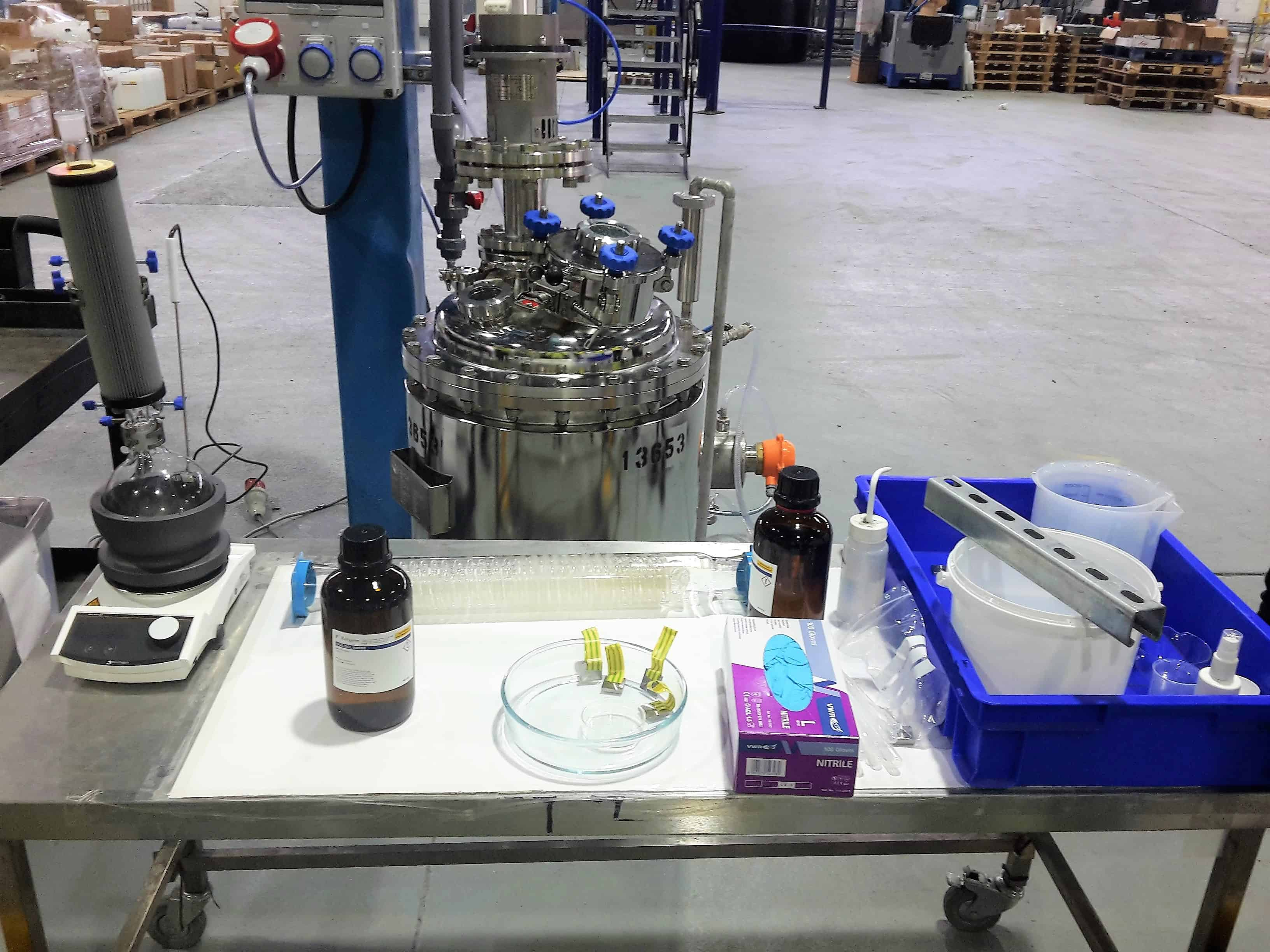 A set-up of equipment in ReAgent's factory