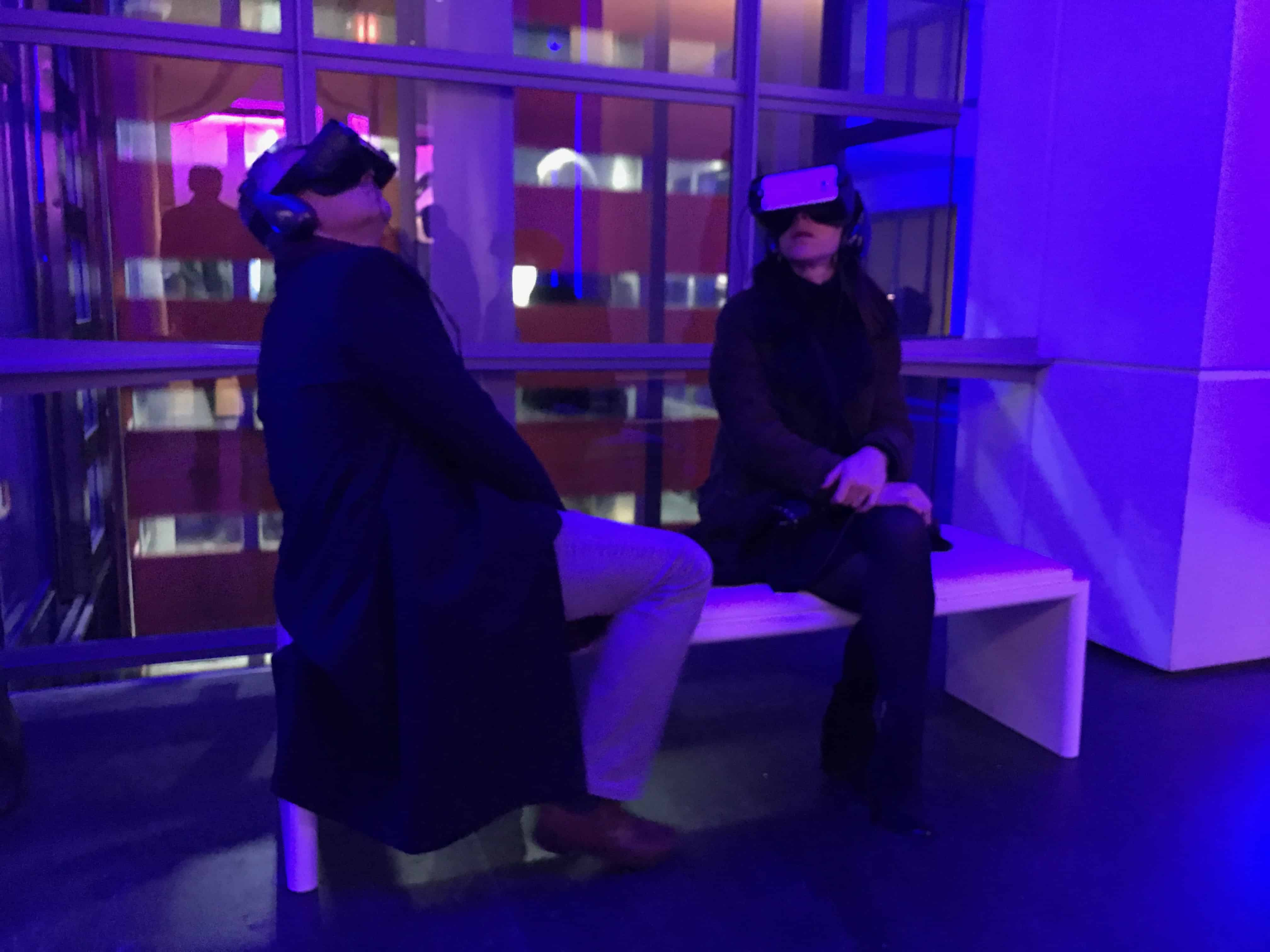 Two people at the Science Museum wearing VR headsets