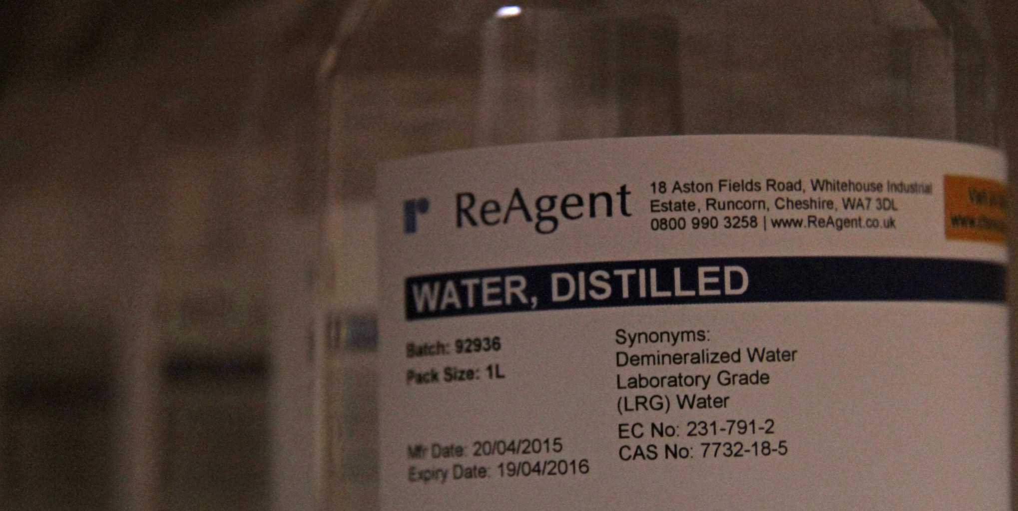 An example Reagent's distilled water product
