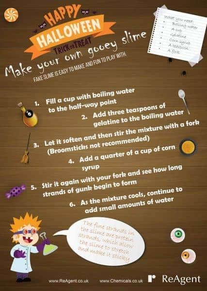 Make your own gooey Halloween slime - instruction sheet