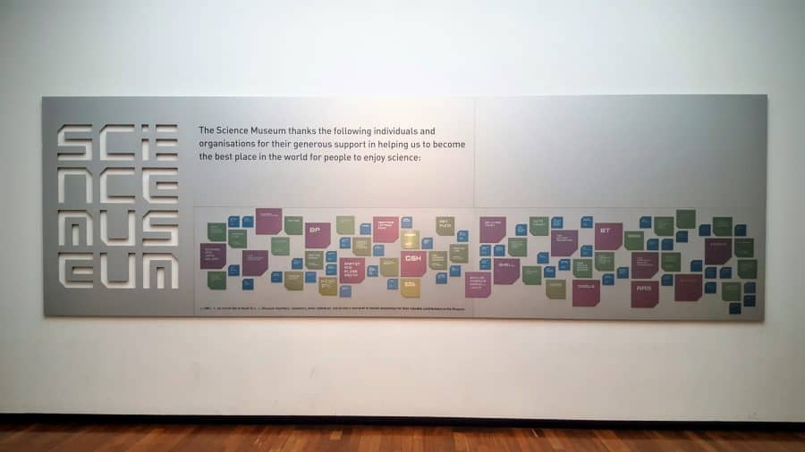 The corporate partner board at the Science Museum