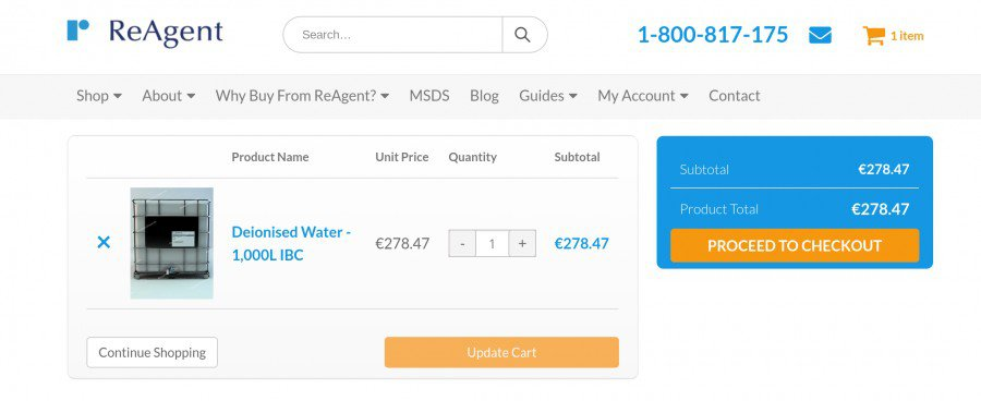 Use euros to buy online at www.chemicals.ie