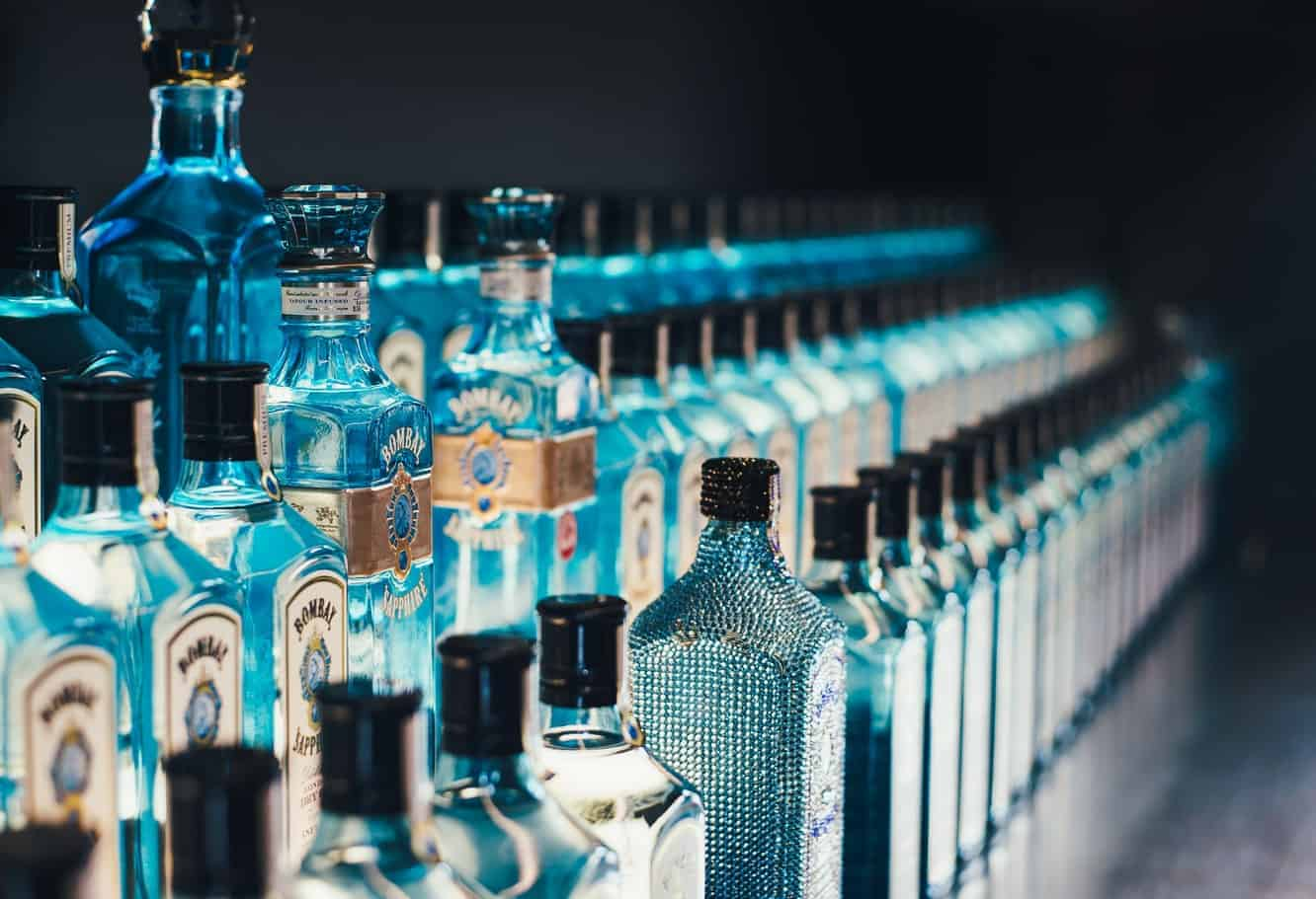 A row of Bombay Sapphire bottles