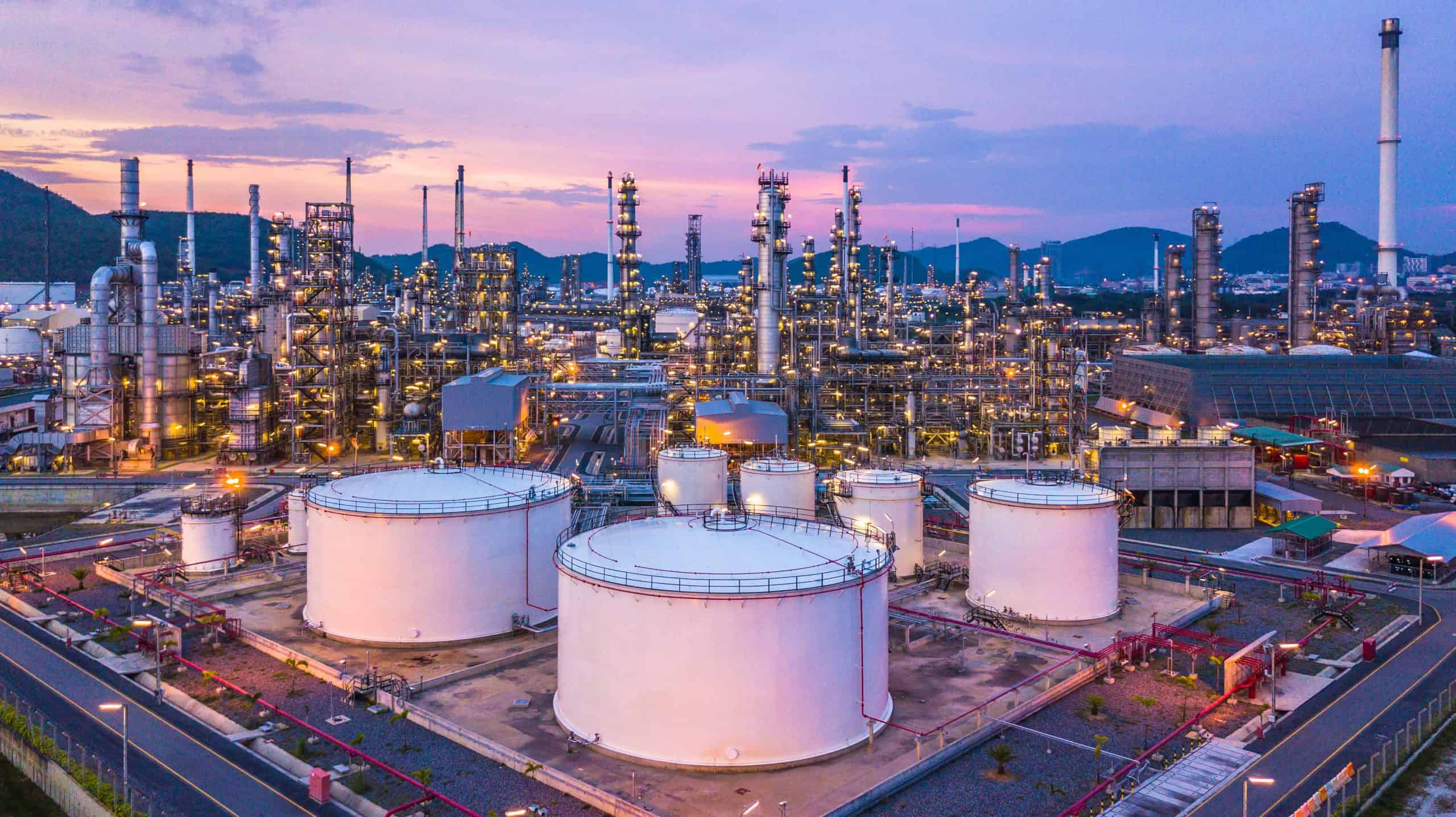 Aerial view of oil refinery plant from industry zone