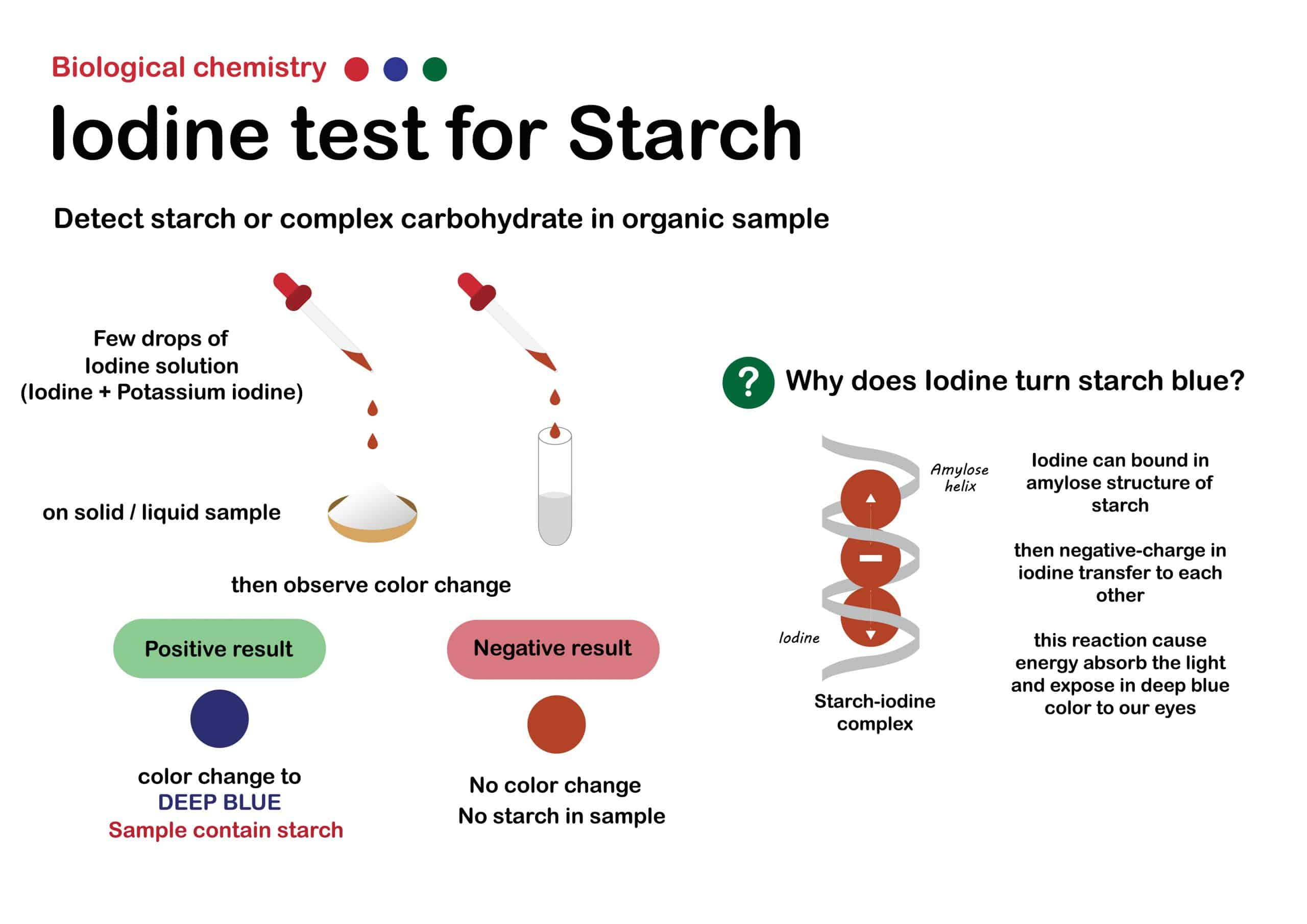 Biology chemistry show experiment of iodine test for detect starch (or carbohydrate) in sample such as food, milk, cosmetic or other