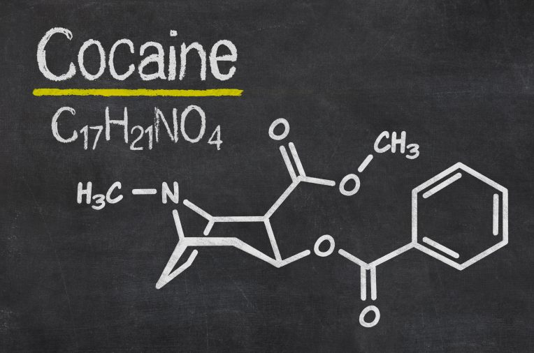 Blackboard with the chemical formula of Cocaine