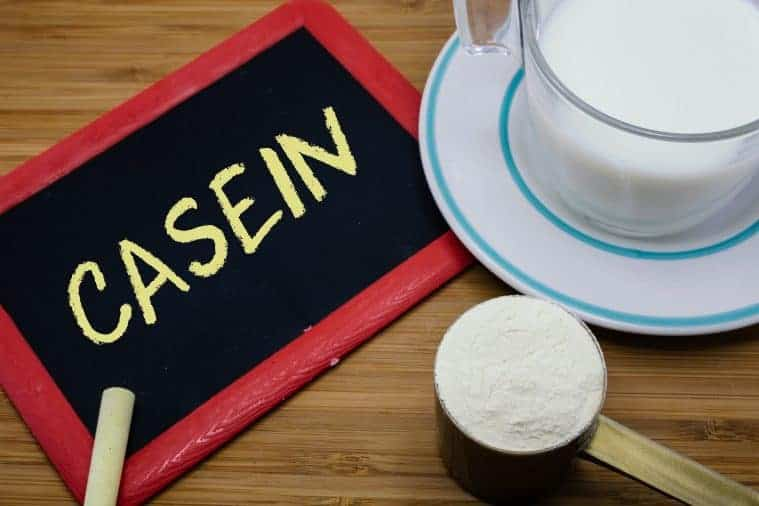 Casein written on chalkboard with a cup of milk and a scoop of milk powder on wood background