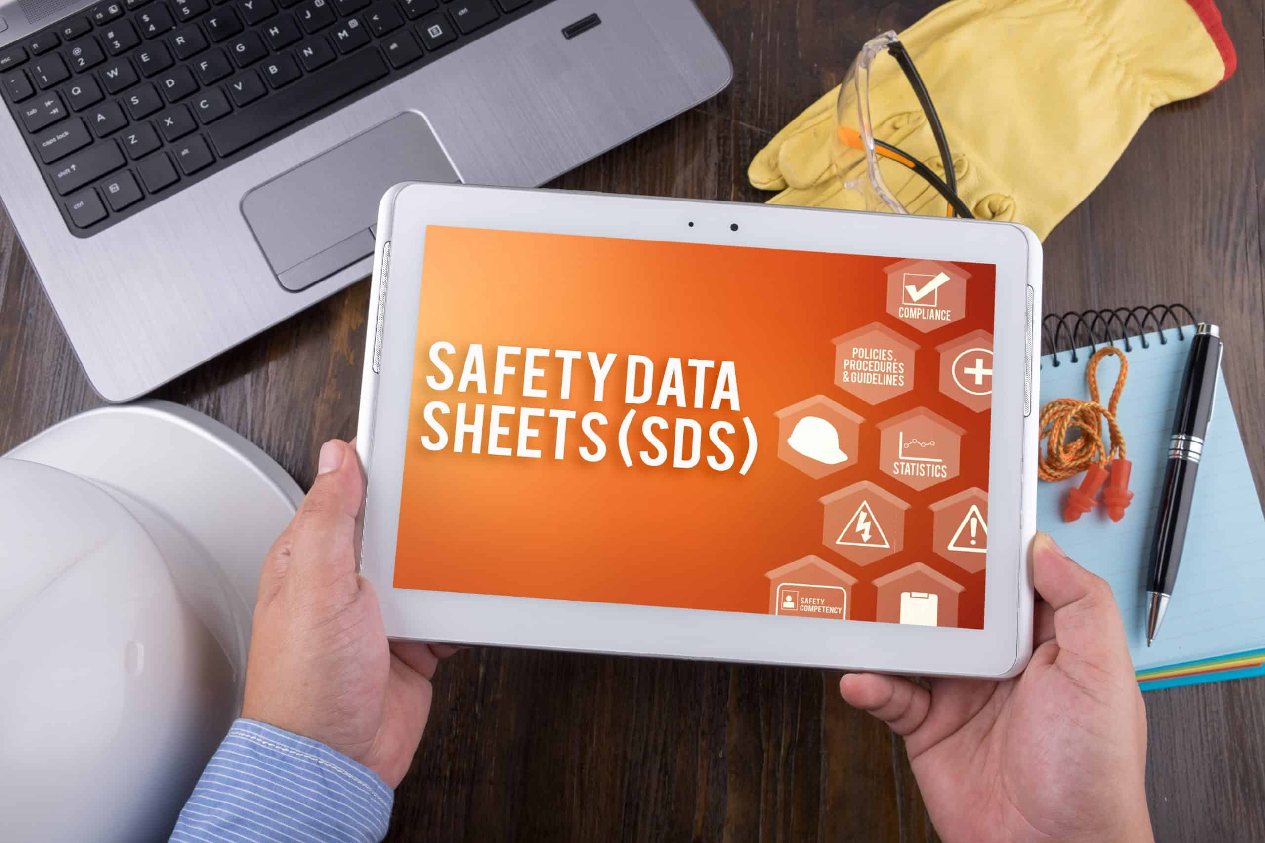 SAFETY DATA SHEETS (SDS) on tablet