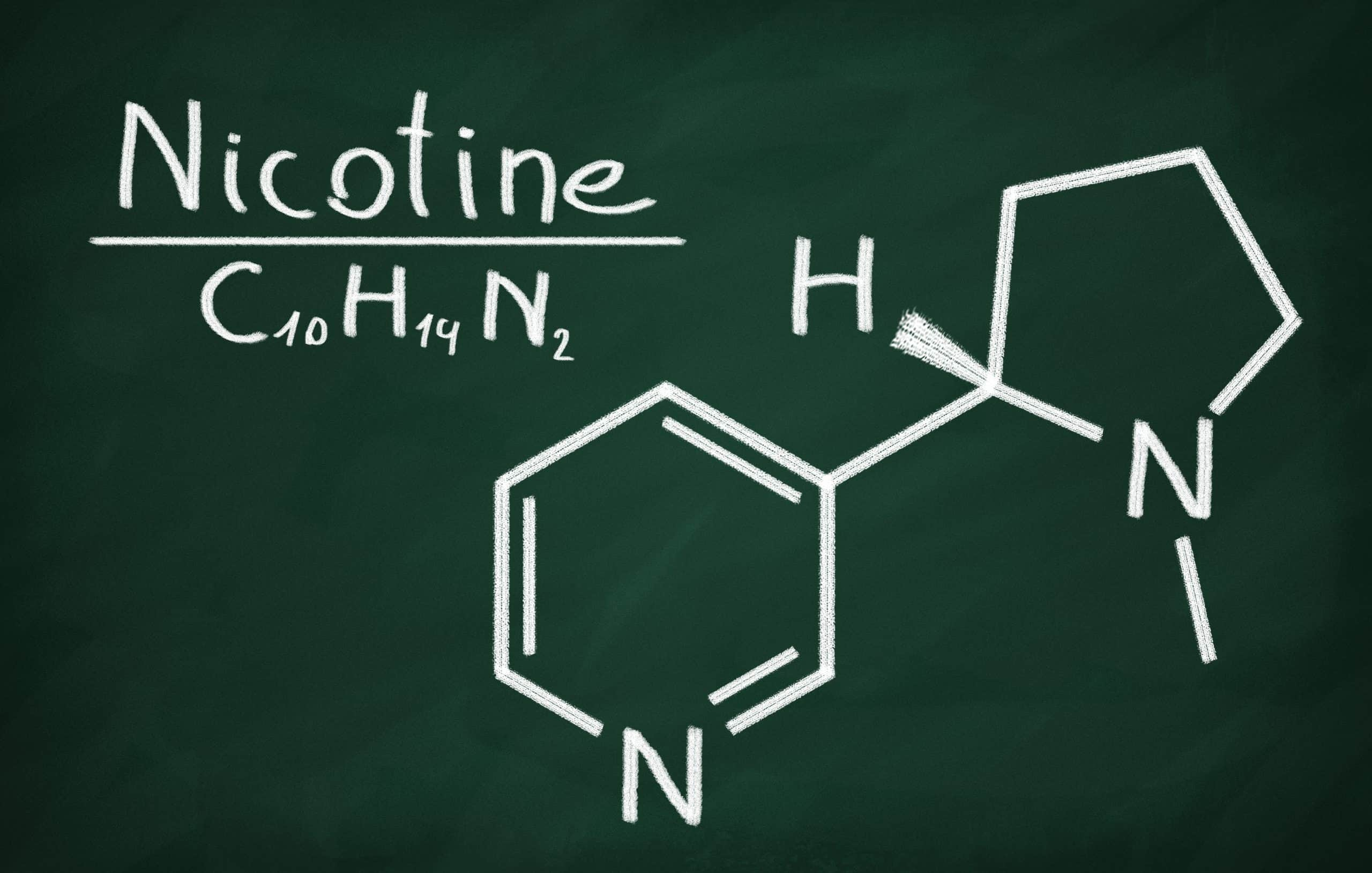 Structural model of Nicotine on the blackboard.