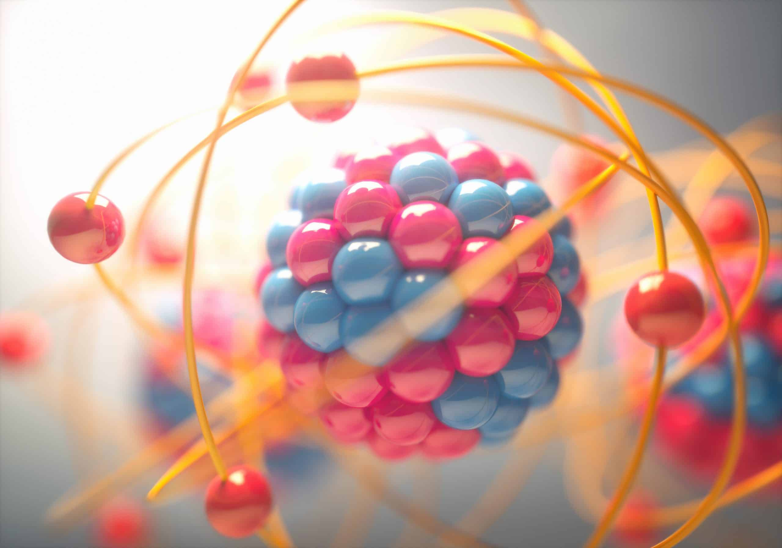 3D Illustration of an atom, which contains chemical energy